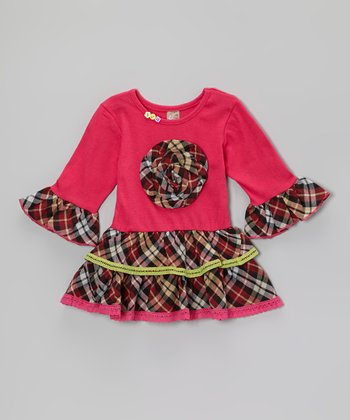 Hot Pink Plaid Flower Ruffle Dress - Toddler & Girls