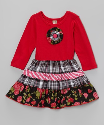 Red & Black Ruffle Flower Tiered Dress - Toddler & Girls