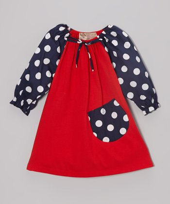 Red & Navy Polka Dot Peasant Dress - Toddler & Girls