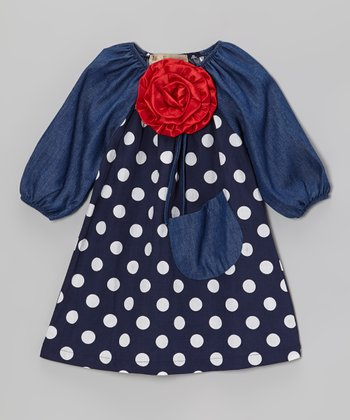 Navy & Denim Blue Dot Flower Peasant Dress - Toddler & Girls
