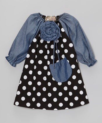 Black Dot & Denim Blue Flower Peasant Dress - Toddler & Girls