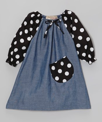 Denim Blue & Black Polka Dot Peasant Dress - Toddler & Girls