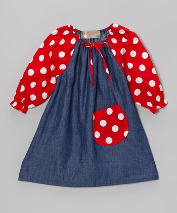 Denim Blue & Red Polka Dot Peasant Dress - Toddler & Girls