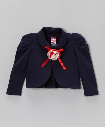 Navy Rosette Jacket - Toddler & Girls