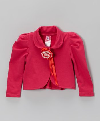 Hot Pink Rosette Jacket - Toddler & Girls
