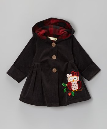 Charcoal Sleepy Owl Hooded Swing Coat - Infant & Toddler