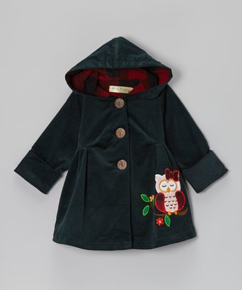 Pine Green Sleepy Owl Hooded Swing Coat - Infant