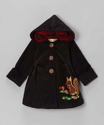 Black Squirrel Corduroy Hooded Coat - Infant & Toddler