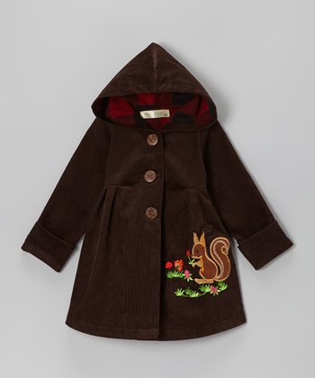 Coffee Brown Squirrel Corduroy Hooded Coat - Infant