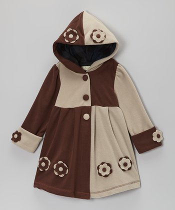 Brown & Cream Two-Tone Hooded Coat - Toddler & Girls