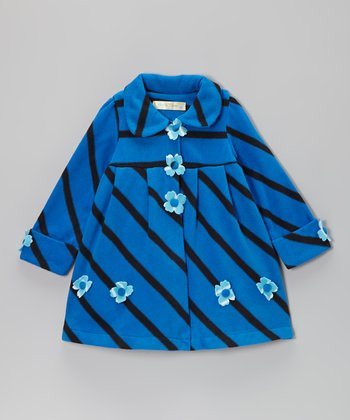 Blue Stripe Flower Coat - Toddler & Girls