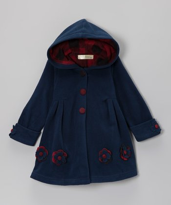 Navy Flower Hooded Swing Coat - Toddler & Girls