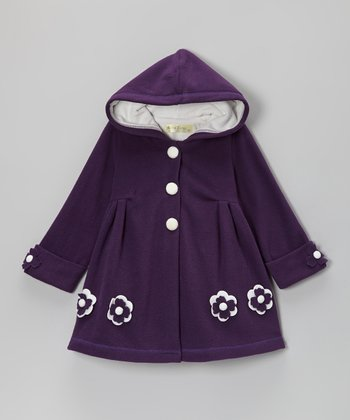 Purple Flower Hooded Swing Coat - Toddler & Girls