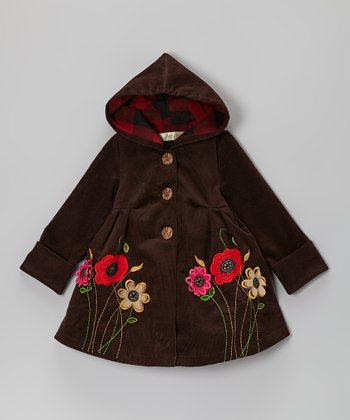 Brown Flower Corduroy Hooded Coat - Toddler & Girls