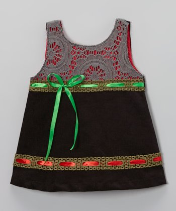 Black Ribbon Corduroy Swing Dress - Toddler & Girls