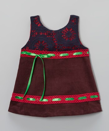 Plum Ribbon Corduroy Swing Dress - Toddler & Girls