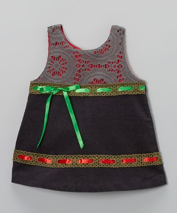 Charcoal Ribbon Corduroy Swing Dress - Toddler & Girls