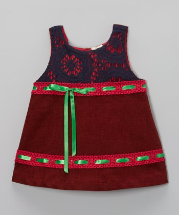 Burgundy Ribbon Corduroy Swing Dress - Toddler & Girls