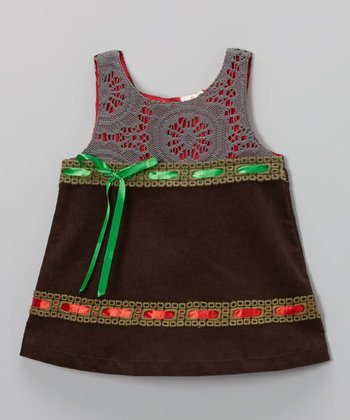 Coffee Brown Ribbon Corduroy Swing Dress - Toddler & Girls
