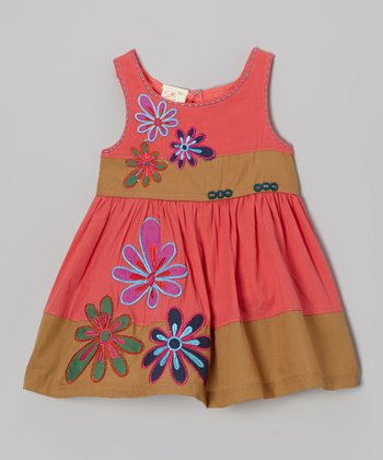 Coral & Khaki Flower Dress - Infant, Toddler & Girls