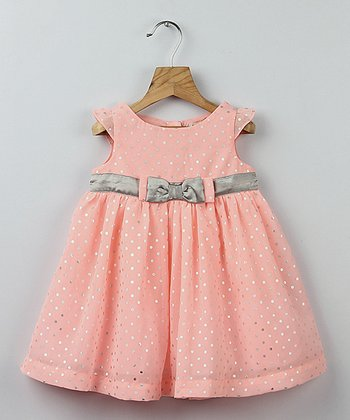 Peach & Silver Foil Polka Dot Bow Dress - Toddler & Girls