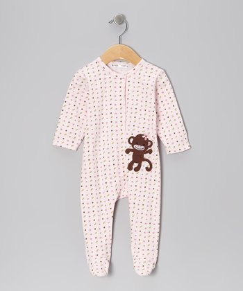 Pink Flower Monkey Footie - Infant