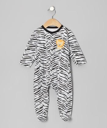 Rumble Tumble Black Zebra Lion Footie - Infant