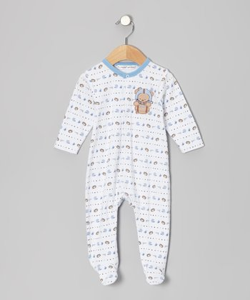 White Football Bear Footie - Infant