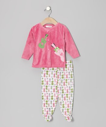 Pink Guitar Cardigan & Footie Pants - Infant