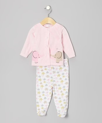 Rumble Tumble Pink Elephant Cardigan & Footie Pants - Infant