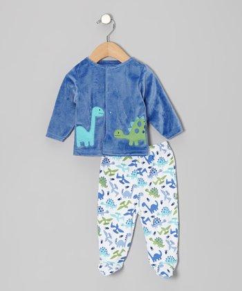 Rumble Tumble Blue Dinosaur Cardigan & Footie Pants - Infant