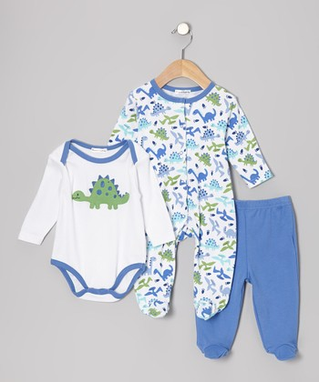 Blue Dinosaur Footie Set