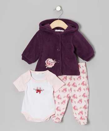 Purple Rose Footie Pants Set