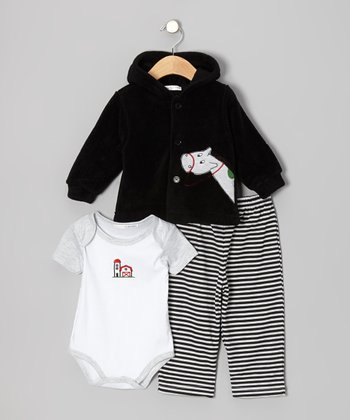 Black Horse Hooded Jacket Set - Infant