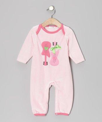 Rumble Tumble Pink Guitar Velour Playsuit - Infant