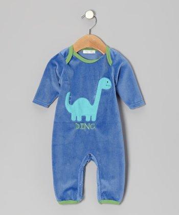 Rumble Tumble Blue Dinosaur Velour Playsuit - Infant