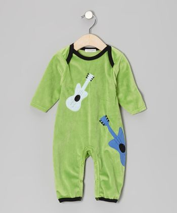Green Guitar Velour Playsuit - Infant