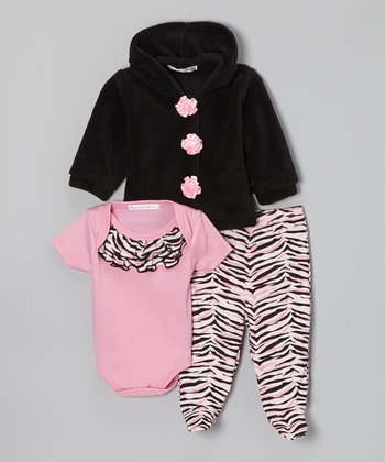Pink & Black Zebra Footie Pants Set