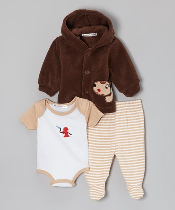 Brown & White Fire Hydrant Footie Pants Set