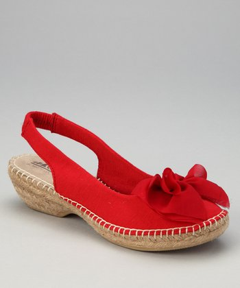 Red Cheerful Espadrille Slingback