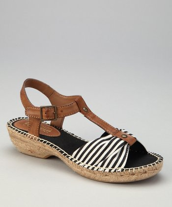 Black & Tan Stripe Cheerio T-Strap Sandal