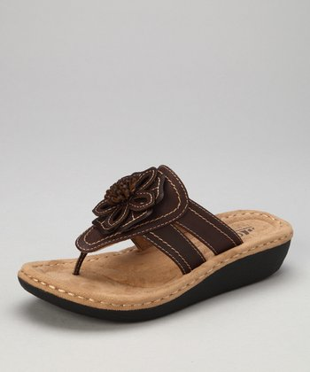 Brown Rosette Carnation Thong Sandal
