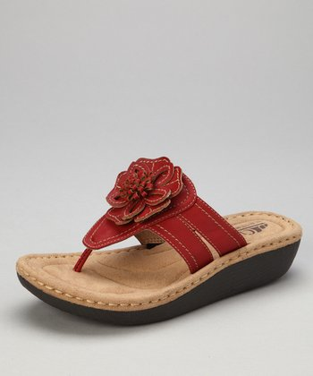 Red Rosette Carnation Thong Sandal