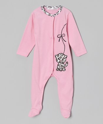 Rumble Tumble Pink Spotted Kitty Footie - Infant