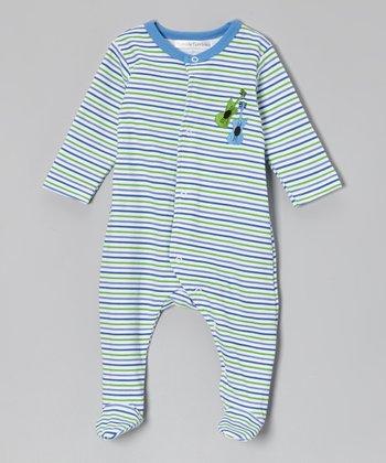 Rumble Tumble Blue & Green Stripe Guitar Footie - Infant