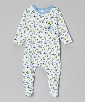 Rumble Tumble Blue & Green Truck Footie - Infant
