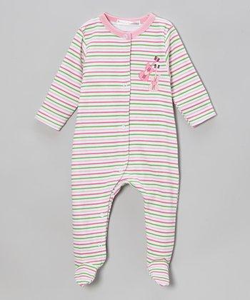 Rumble Tumble Pink & Green Stripe Guitar Footie - Infant