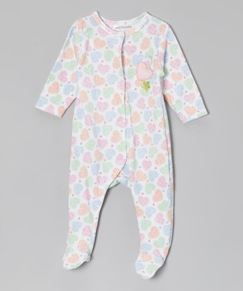 Rumble Tumble White & Pink Heart Footie - Infant
