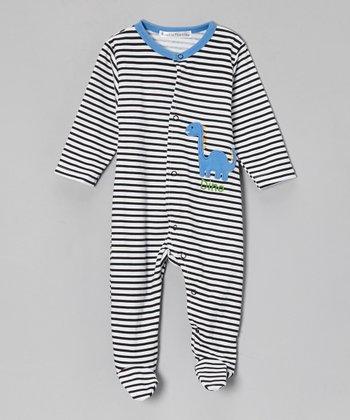 Rumble Tumble Black & White Stripe 'Dino' Footie - Infant
