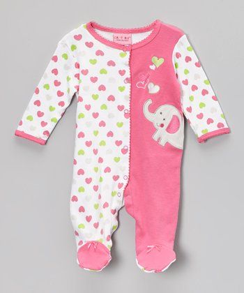 Pink & White Heart Elephant Footie - Infant